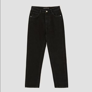 Zara black high waist mom jeans cotton size 8